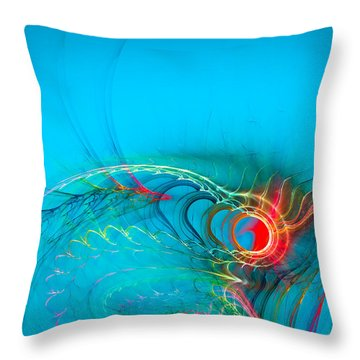 Warming Up The Blues Throw Pillow by Modern Art Prints