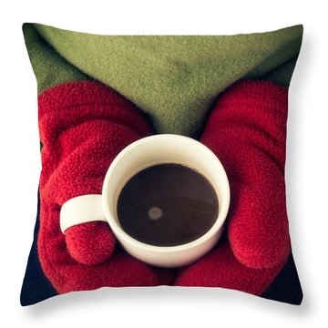 Warming Up With Hot Cocoa Throw Pillow