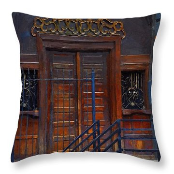 Warning Do Not Enter - Oil Painting Throw Pillow by Liane Wright