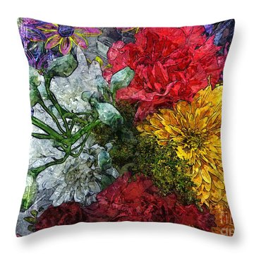 Warning Flowers At Large Throw Pillow