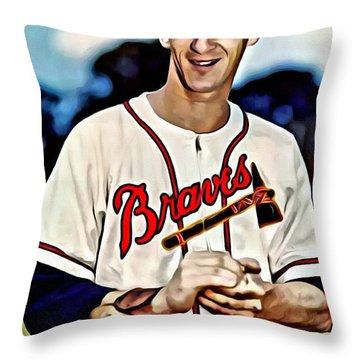 Warren Spahn Throw Pillow