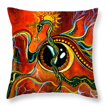 Throw Pillow featuring the painting Warrior Spirit Eye by Deborha Kerr