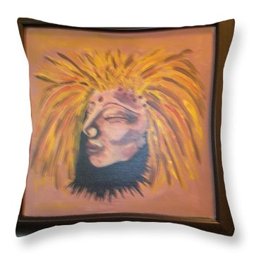 Throw Pillow featuring the painting Warrior Woman #1 by Sharyn Winters