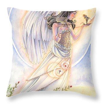 Warrior's Angel Throw Pillow by Sara Burrier