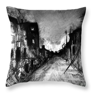 Throw Pillow featuring the drawing Warsaw Ghetto 1945 by Maja Sokolowska