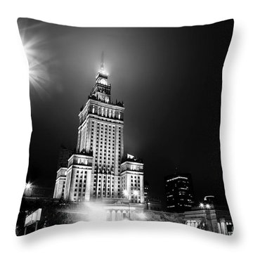 Warsaw Poland Downtown Skyline At Night Throw Pillow