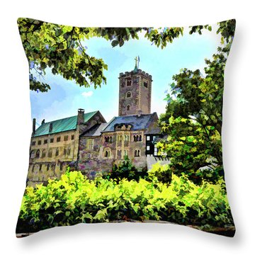 Throw Pillow featuring the photograph Wartburg Castle - Eisenach Germany - 1 by Mark Madere