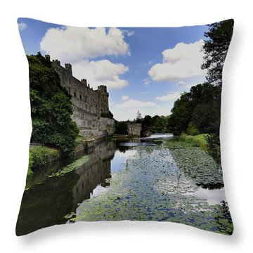 Warwick Castle Throw Pillow by Ron Grafe