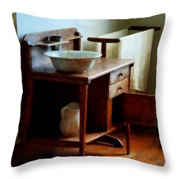 Wash Basin And Towel Throw Pillow