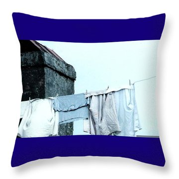 Throw Pillow featuring the photograph Wash Day Blues In New Orleans Louisiana by Michael Hoard