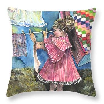 Wash Day Throw Pillow by Kim Whitton
