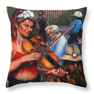 Washboard Lissa On Fiddle Throw Pillow