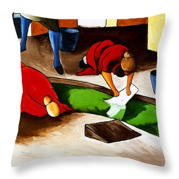 Washing Clothes At Canal Throw Pillow by William Cain