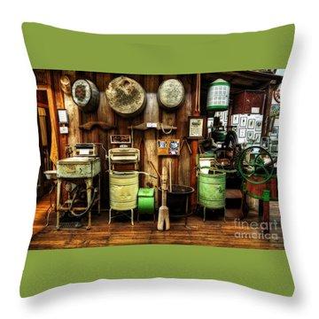 Washing Machines Of Yesteryear Throw Pillow by Kaye Menner