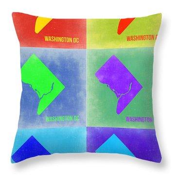 Washington Dc Pop Art Map 3 Throw Pillow by Naxart Studio
