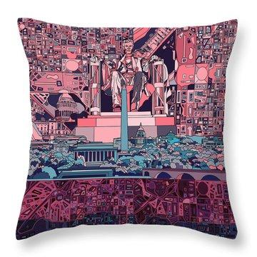 Washington Dc Skyline Abstract 2 Throw Pillow