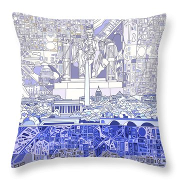 Washington Dc Skyline Abstract 3 Throw Pillow by Bekim Art