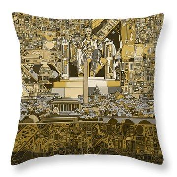 Washington Dc Skyline Abstract 4 Throw Pillow