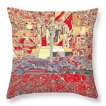 Washington Dc Skyline Abstract 6 Throw Pillow by Bekim Art