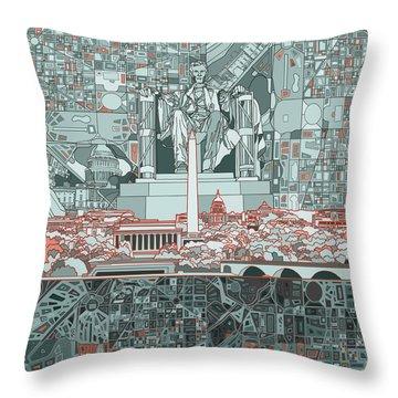 Washington Dc Skyline Abstract Throw Pillow