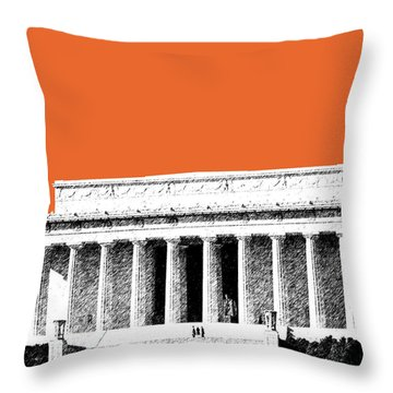 Washington Dc Skyline Lincoln Memorial - Coral Throw Pillow by DB Artist