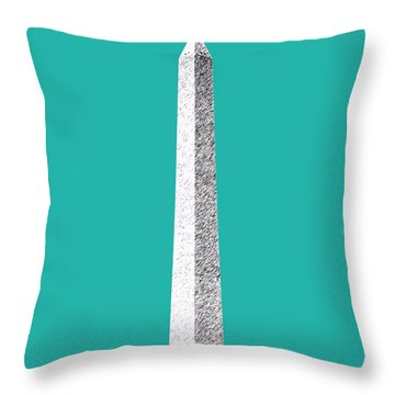 Washington Dc Skyline Washington Monument - Teal Throw Pillow