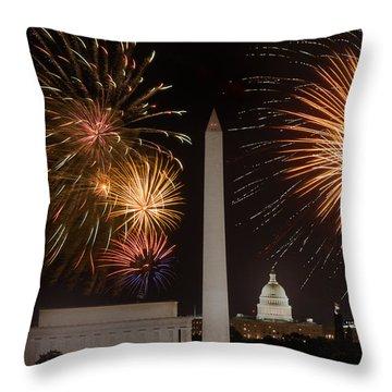Washington Fireworks Throw Pillow