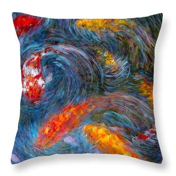 Throw Pillow featuring the painting Washington Koi by Charles Munn