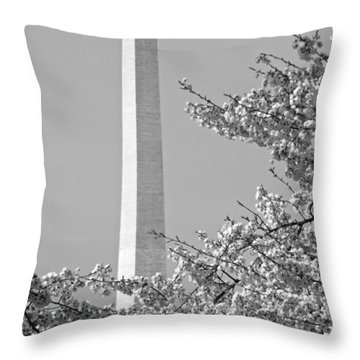Washington Monument Amidst The Cherry Blossoms Throw Pillow