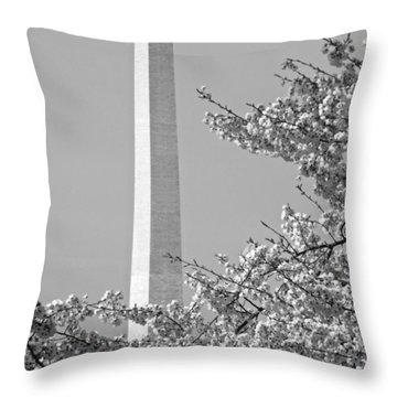 Washington Monument Amidst The Cherry Blossoms Throw Pillow