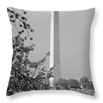 Washington Monument And Cherry Blossoms In April Throw Pillow