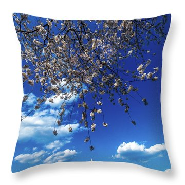 Washington Monument Framed By Cherry Throw Pillow