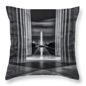 Washington Monument From Lincoln Memorial II Throw Pillow