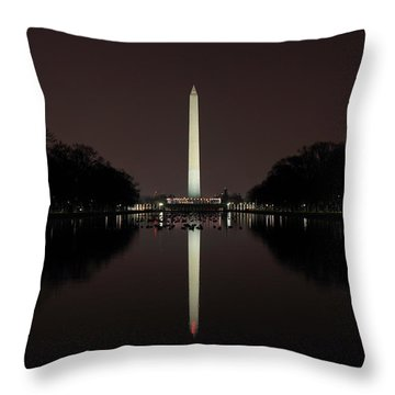 Washington Monument Reflections At Night Throw Pillow