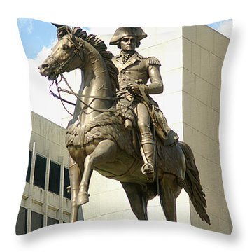 Washington On His Horse Throw Pillow by Suzanne Powers