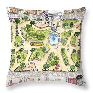 Washington Square Park Map Throw Pillow