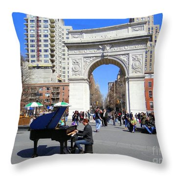 Washington Square Pianist Throw Pillow by Ed Weidman