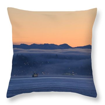 Throw Pillow featuring the photograph Washington State Ferries At Dawn by E Faithe Lester