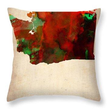 Washington Watercolor Map Throw Pillow by Naxart Studio