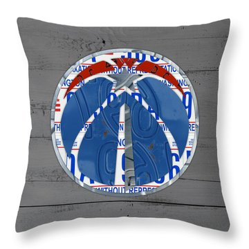 Washington Wizards Basketball Team Logo Vintage Recycled District Of Columbia License Plate Art Throw Pillow By