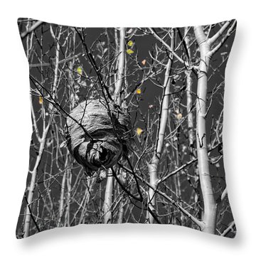 Wasp Nest In Aspen Throw Pillow