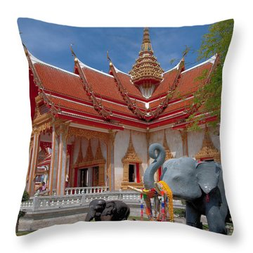 Wat Chalong Wiharn And Elephant Tribute Dthp045 Throw Pillow