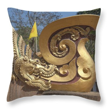 Wat Chedi Liem Phra Ubosot Makara And Stylized Naga Dthcm0838 Throw Pillow