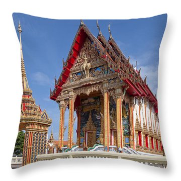 Throw Pillow featuring the photograph Wat Choeng Thalay Ordination Hall Dthp138 by Gerry Gantt