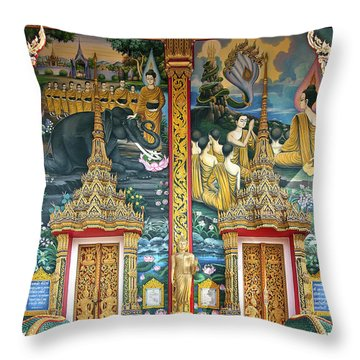 Throw Pillow featuring the photograph Wat Choeng Thale Ordination Hall Facade Dthp143 by Gerry Gantt