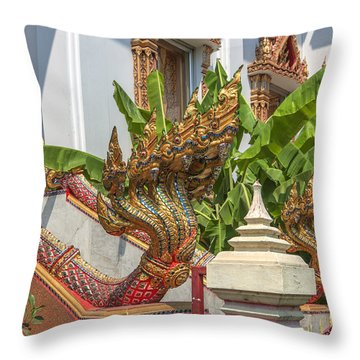 Wat Dokmai Phra Ubosot Stair Naga Dthb1783 Throw Pillow