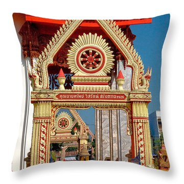 Wat Liab Ubosot Gateway Dthu039 Throw Pillow by Gerry Gantt