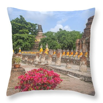 Wat Phra Chao Phya-thai Buddha Images And Ruined Chedi Dtha004 Throw Pillow