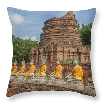 Wat Phra Chao Phya-thai Buddha Images And Ruined Chedi Dtha005 Throw Pillow