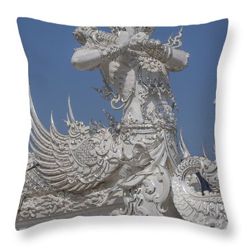Wat Rong Khun Ubosot Causeway Guardian Dthcr0007 Throw Pillow